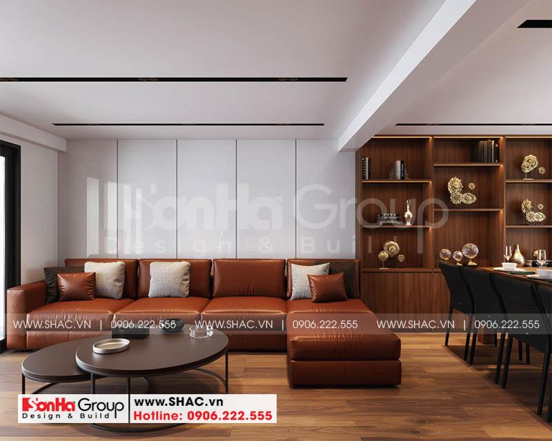 Thiết kế nội thất phòng khách hiện đại với nội thất gỗ sang trọng