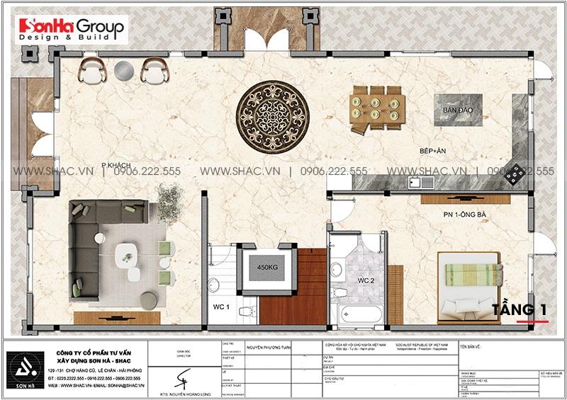 Mặt bằng tối ưu công năng tầng 1 biệt thự tân cổ điển 3 tầng tại Đà Nẵng