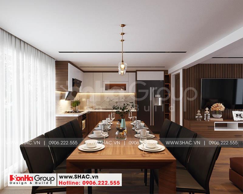 Thiết kế nội thất phòng bếp ăn nhà phố sang trọng với vật liệu gỗ