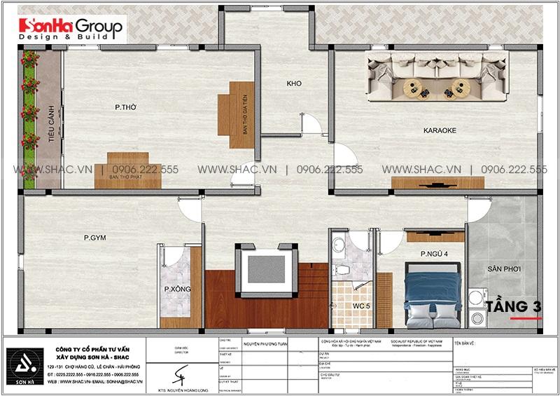 Mặt bằng tối ưu công năng tầng 3 biệt thự tân cổ điển 3 tầng tại Đà Nẵng