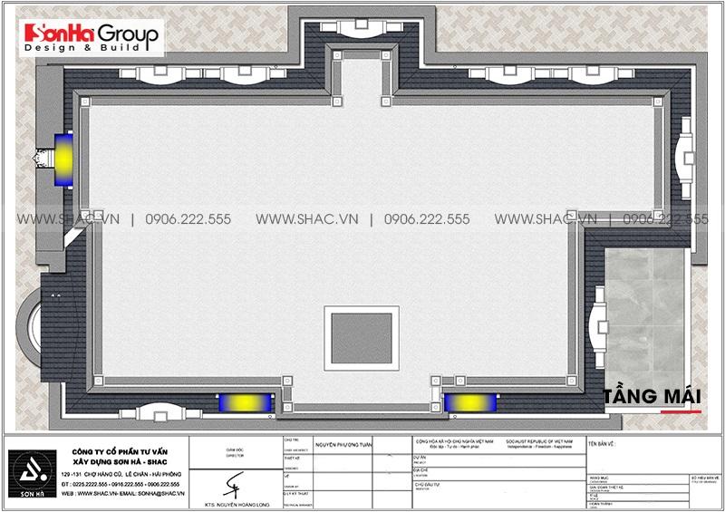 Mặt bằng tối ưu công năng tầng mái biệt thự tân cổ điển 3 tầng tại Đà Nẵng