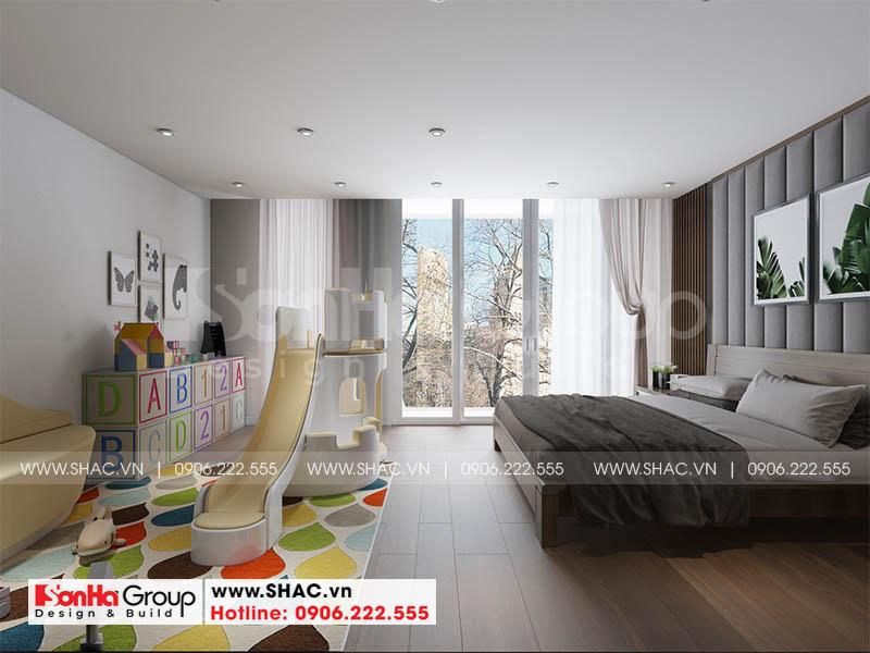Thiết kế phòng ngủ hiện đại sáng tạo với khu vui chơi cho trẻ
