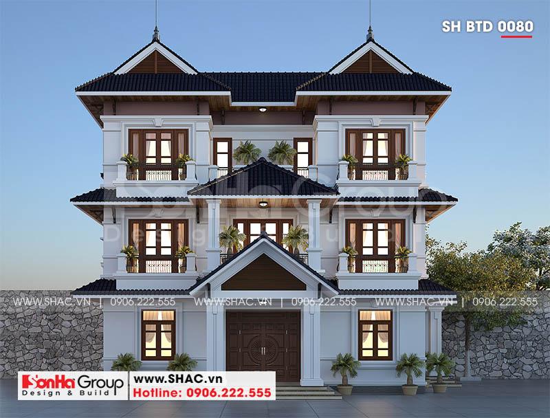Thiết kế biệt thự song lập 3 tầng hiện đại phát lộc tại Hải Phòng – SH BTD 0080 1