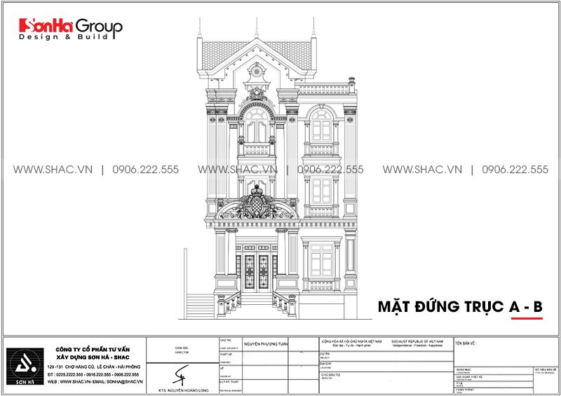 Mặt đứng trục a-b của biệt thự tân cổ điển thiết kế đẹp mãn nhãn