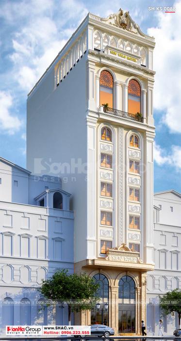 Mẫu thiết kế khách sạn 3 sao tân cổ điển 10 tầng tại Hải Phòng SH KS 0088