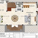 4.Mặt bằng tầng 1 biệt thự hiện đại tại Hải Phòng sh btd 0080