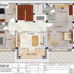 5.Bản vẽ tầng 2 biệt thự hiện đại tại Hải Phòng sh btd 0080.