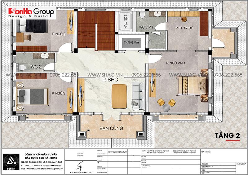 Thiết kế biệt thự song lập 3 tầng hiện đại phát lộc tại Hải Phòng – SH BTD 0080 7