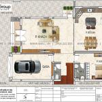 5 Mặt bằng tầng 1 biệt thự hiện đại đẹp tại Ninh Bình sh btd 0081