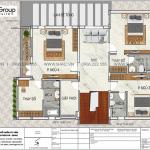 6 Bản vẽ tầng 2 biệt thự hiện đại 2 tầng tại Ninh Bình sh btd 0081