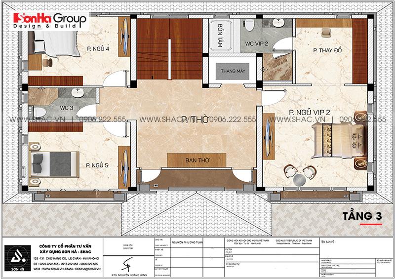 Thiết kế biệt thự song lập 3 tầng hiện đại phát lộc tại Hải Phòng – SH BTD 0080 8