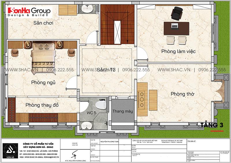 Mặt bằng công năng tầng 3 của ngôi biệt thự tân cổ điển tại Sài Gòn