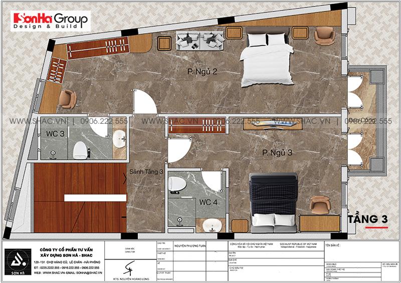 Bản vẽ mặt bằng công năng tầng 3 nhà phố tân cổ điển 4 tầng mặt tiền rộng