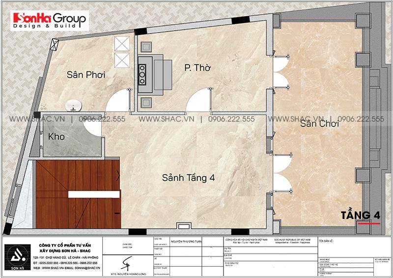 Bản vẽ mặt bằng công năng tầng 4 nhà phố tân cổ điển tiện nghi tại Hà Nội
