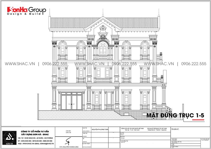 Bản vẽ mặt đứng trục 1-5 của biệt thự đẹp 3 tầng phong cách tân cổ điển