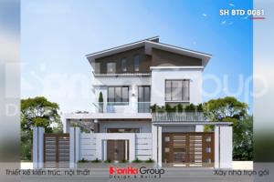 BIA Mẫu thiết kế biệt thự hiện đại 2 tầng có gara tại Ninh Bình SH BTD 0081