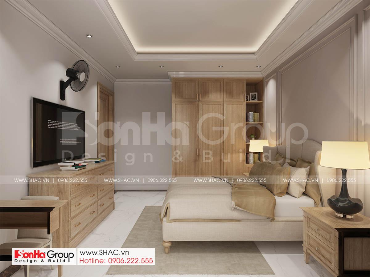 Phòng ngủ tầng trệt gọn gàng và hiện đại của thiết kế biệt thự tân cổ điển