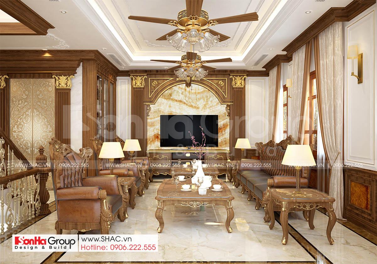 Thiết kế nội thất phòng khách biệt thự tại Hà Nội