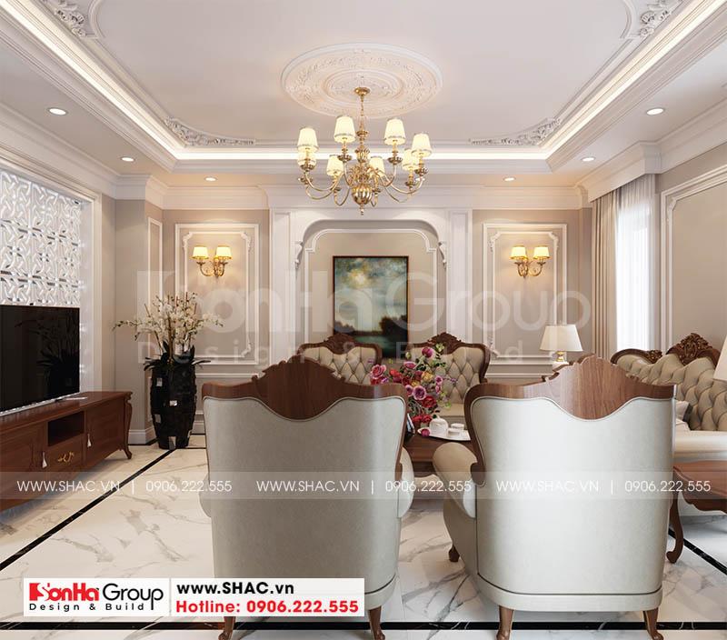 Trang trí không gian phòng khách tân cổ điển đẹp với đường nét tinh tế