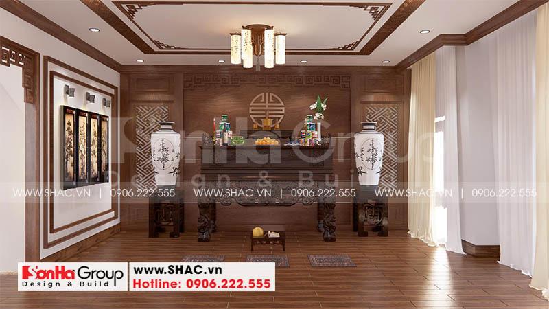 Thiết kế nội thất phòng thờ tôn nghiêm cho nhà phố hợp phong thủy