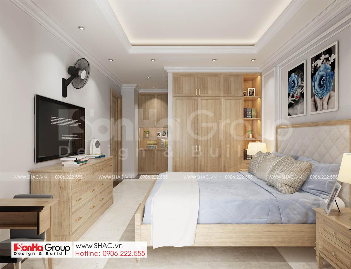 Phòng ngủ phong cách tối giản từ nội thất cao cấp trong biệt thự 4 tầng tại Sài Gòn