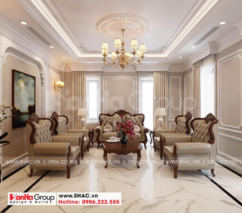 Thiết kế nội thất phòng khách nhà phố Hoàng Huy Mall sang trọng