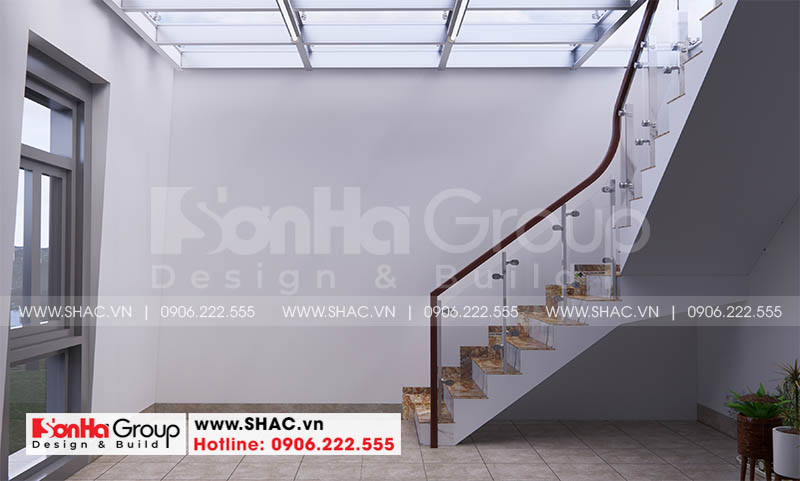 Không gian cầu thang được bố trí đẹp mắt trong ngôi nhà phố 4 tầng