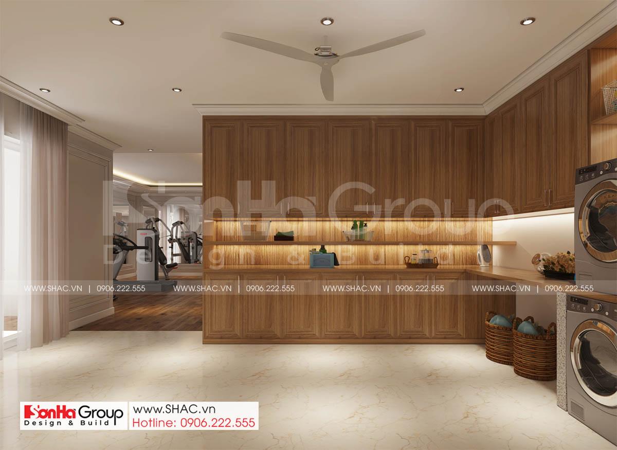 Phòng giặt tươm tất và hiện đại trong biệt thự 4 tầng SH BTP 0161
