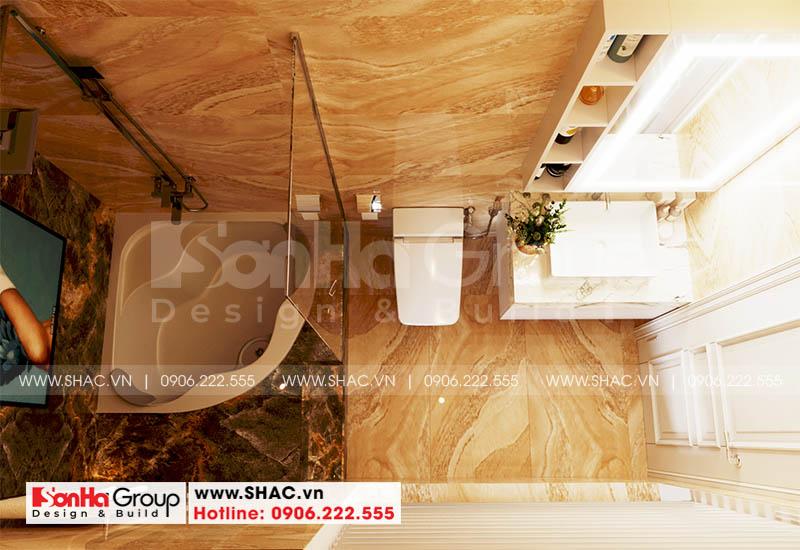Thiết kế phòng tắm và vệ sinh cho phòng ngủ master của ngôi nhà này