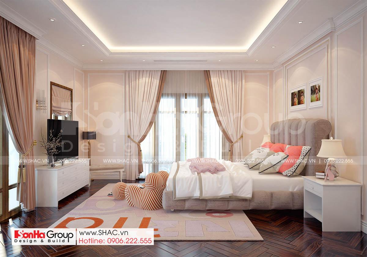 Trang trí nội thất đẹp phòng ngủ biệt thự tân cổ điển 3 tầng tại Hà Nội