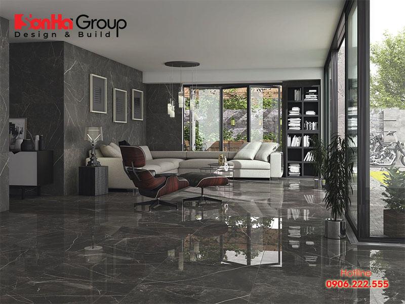 Gạch Ceramic được sử dụng phổ biến trong không gian phòng khách