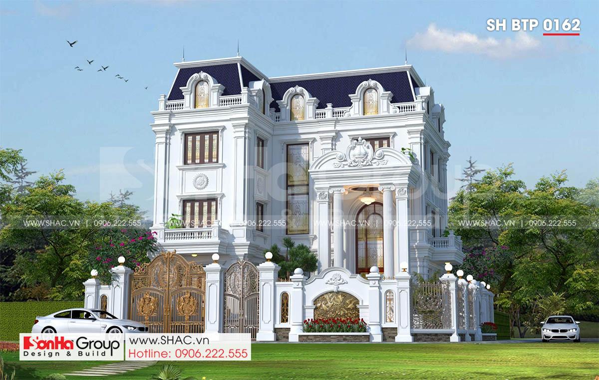 Mặt tiền biệt thự tân cổ điển 3 tầng tại Hà Nội