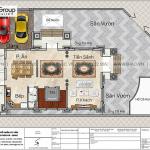 4 Mặt bằng tầng 1 biệt thự tân cổ điển đẹp tại quảng ninh sh btp 0160