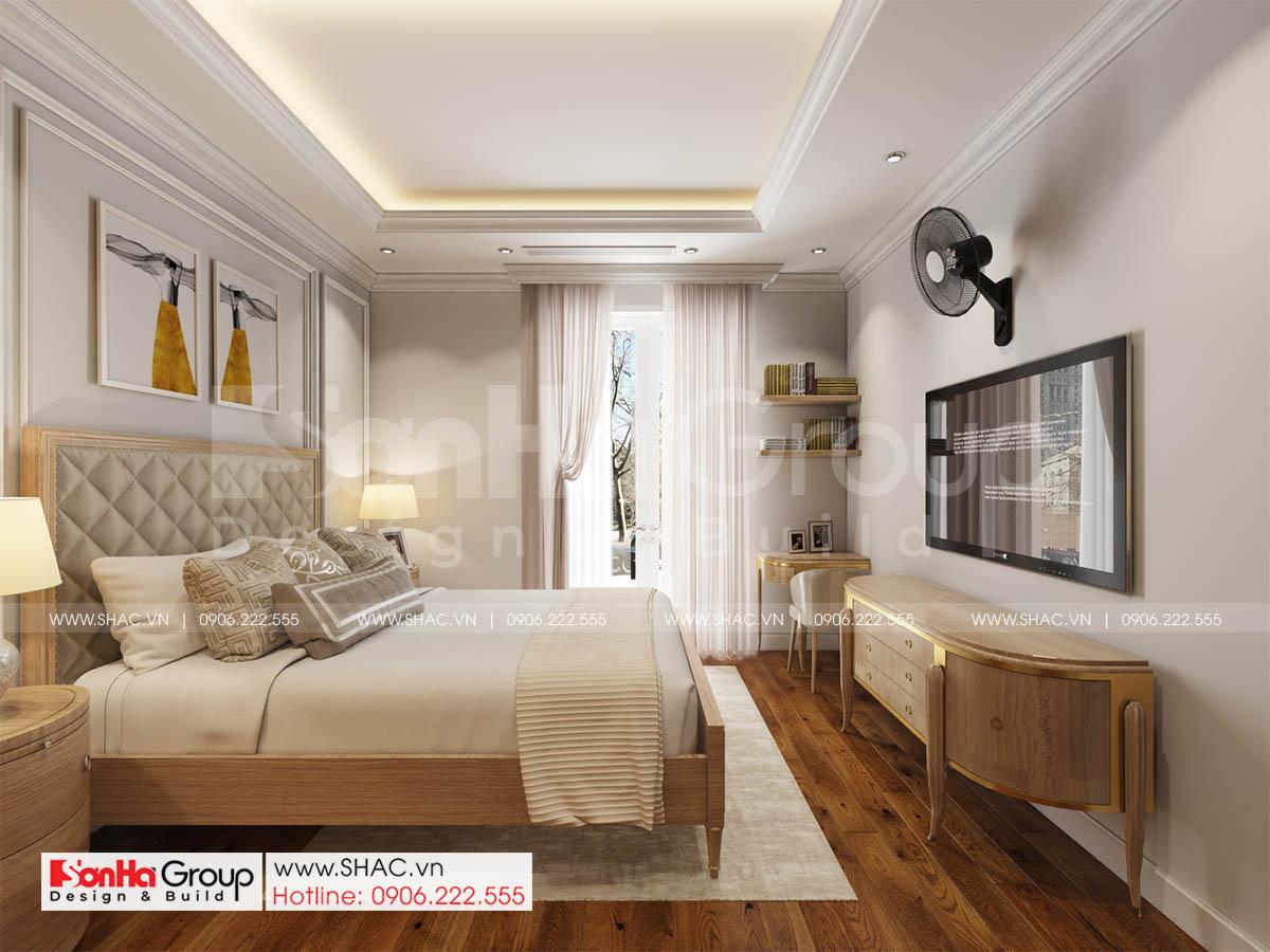 Phòng ngủ tinh tế sang trọng trong biệt thự mặt tiền 17m tại Sài Gòn