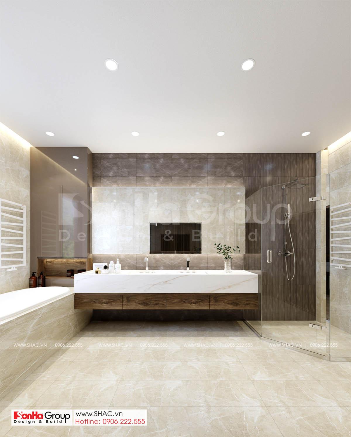 Bố trí nội thất phòng tắm biệt thự tân cổ điển mặt tiền 17m tại Hà Nội