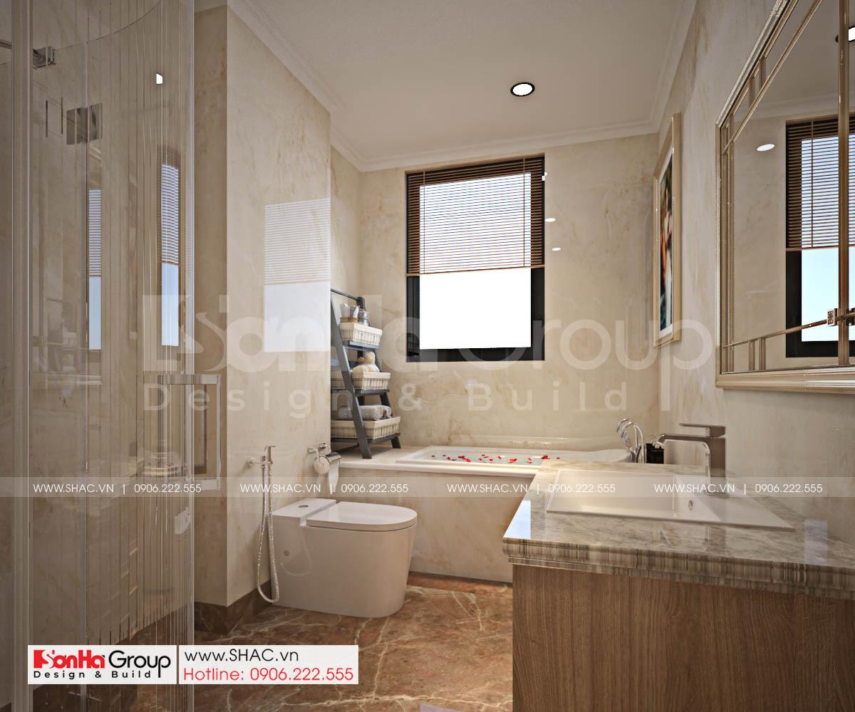 WC phòng ngủ tầng 3 biệt thự tân cổ điển 4 tầng.