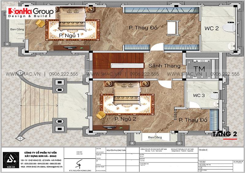 Mặt bằng tầng 2 biệt thự sang trọng và tiện nghi 3 tầng tại Hà Nội