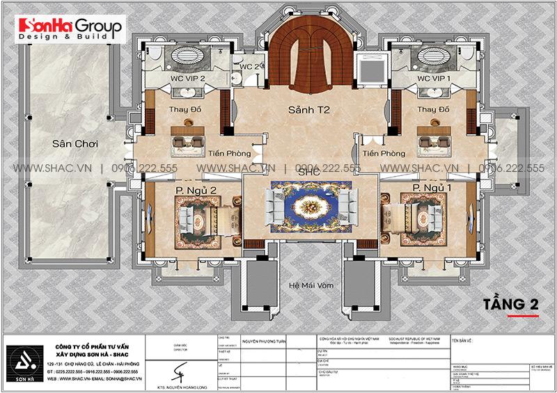Bản vẽ tầng 2 biệt thự lâu đài 4 tầng 1 tum tại Hải Dương