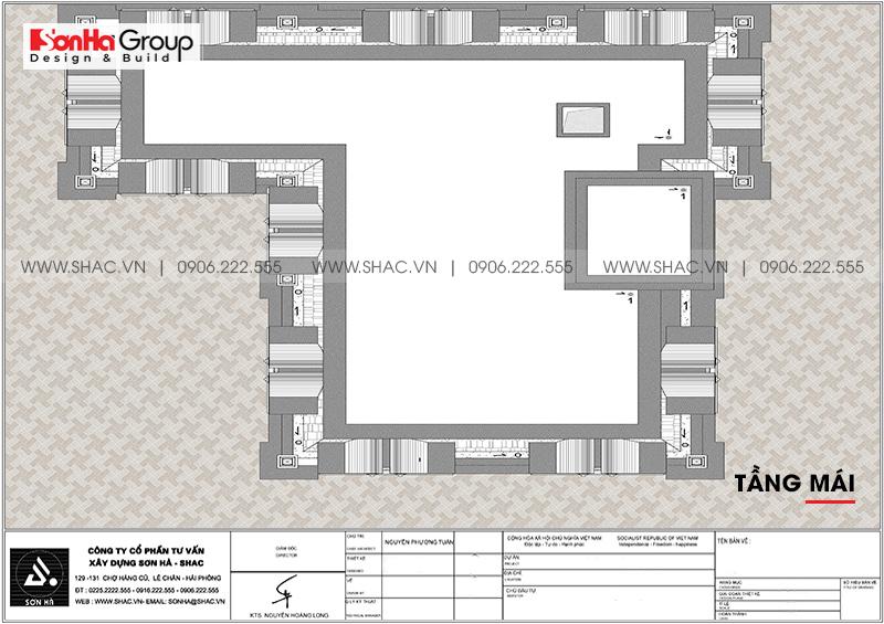 Chi tiết mặt bằng tầng mái của biệt thự tân cổ điển 3 tầng mặt bằng 17m2
