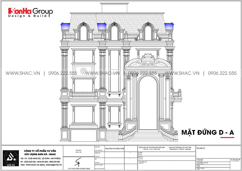Mặt đứng trục DA của biệt thự tân cổ điển tráng lệ tại Hà Nội