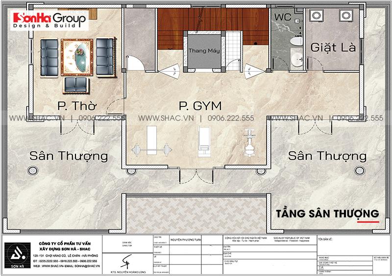 7 Mặt bằng tầng sân thượng biệt thự tân cổ điển tại sài gòn sh btp 0161