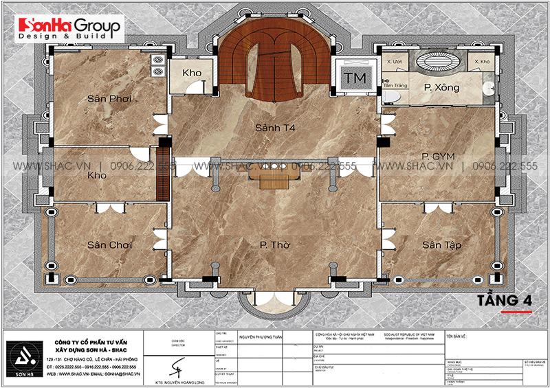 Bản vẽ tầng 4 biệt thự lâu đài Hải Dương