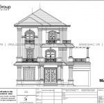 9 Bản vẽ mặt đứng biệt thự tân cổ điển tại quảng ninh sh btp 0160