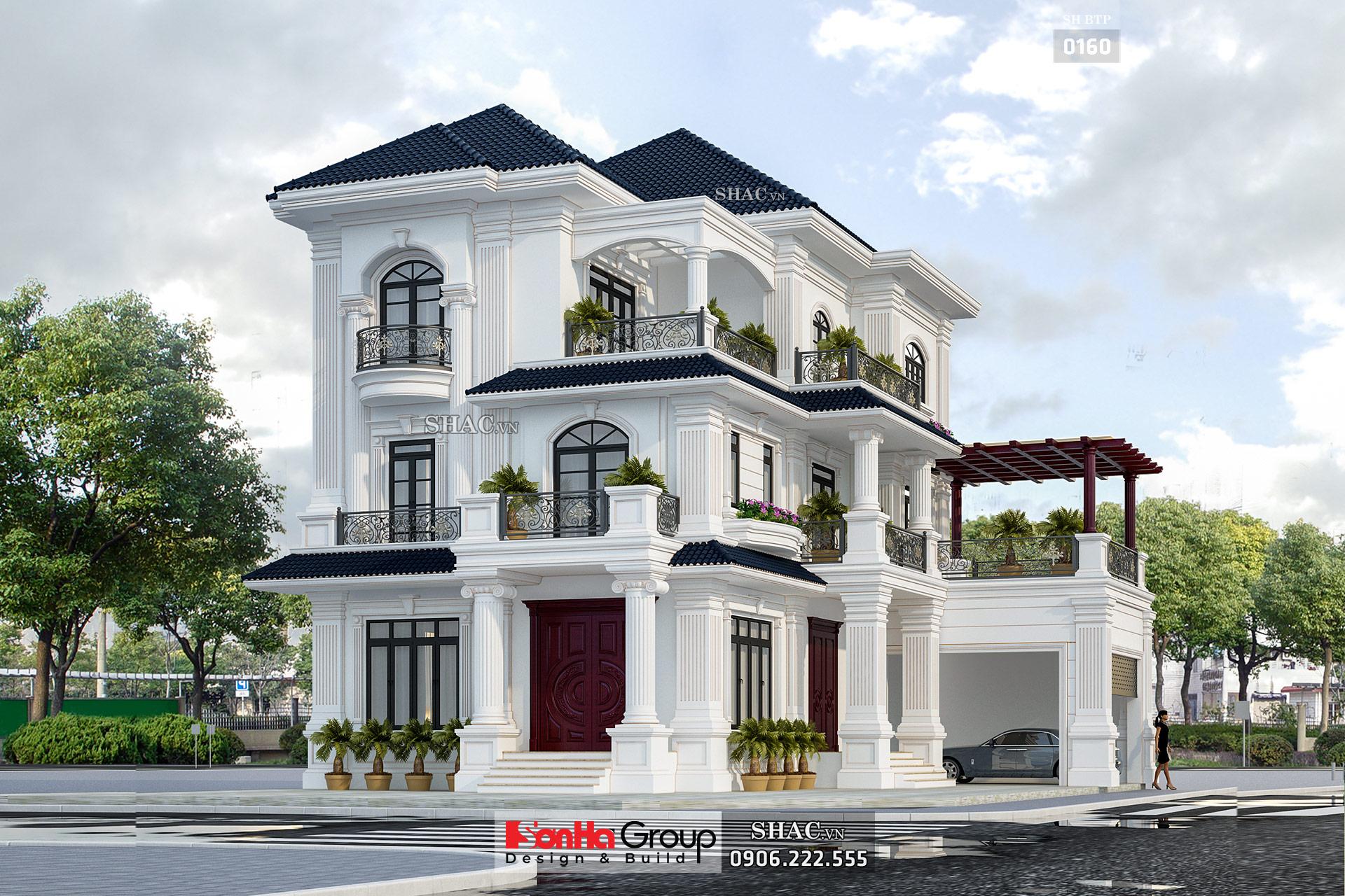 Biệt thự 3 tầng 2 mặt tiền 330m2 màu trắng tân cổ điển