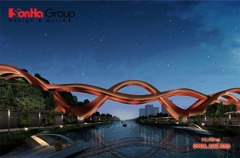 Cây cầu đi bộ qua sông Dragon King Harbour ở Trung Quốc