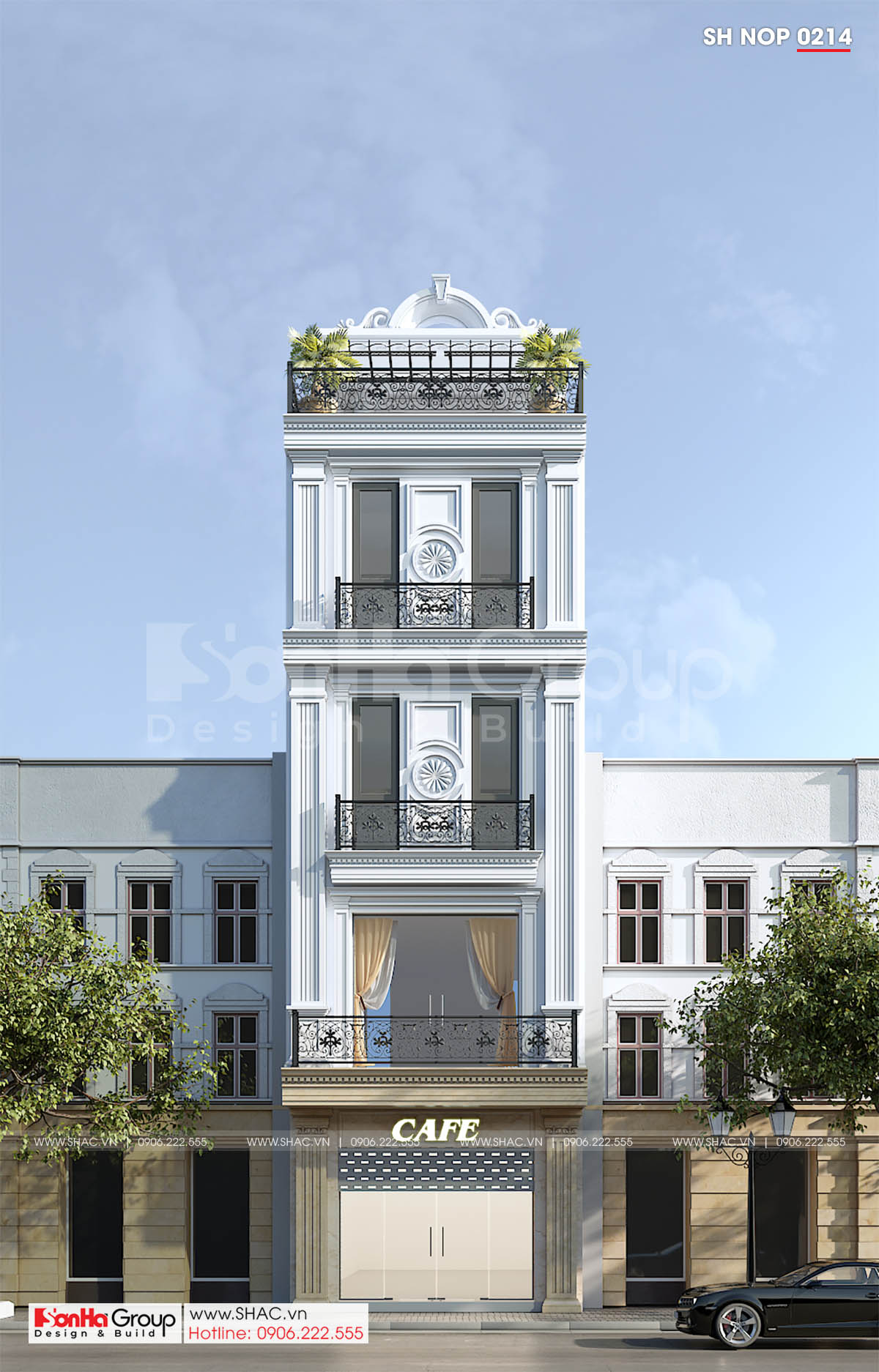 Mặt tiền mẫu nhà phố tân cổ điển đẹp tại Lạng Sơn