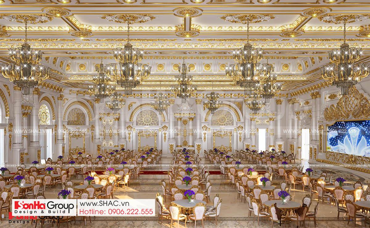 Không gian hội trường cưới trong trung tâm tiệc cưới 4 tầng tại Đồng Nai
