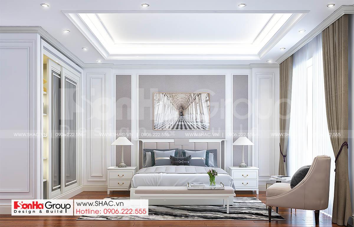 Phòng ngủ sáng trọng trong thiết kế nhà mặt tiền 4m tại Hải Dương