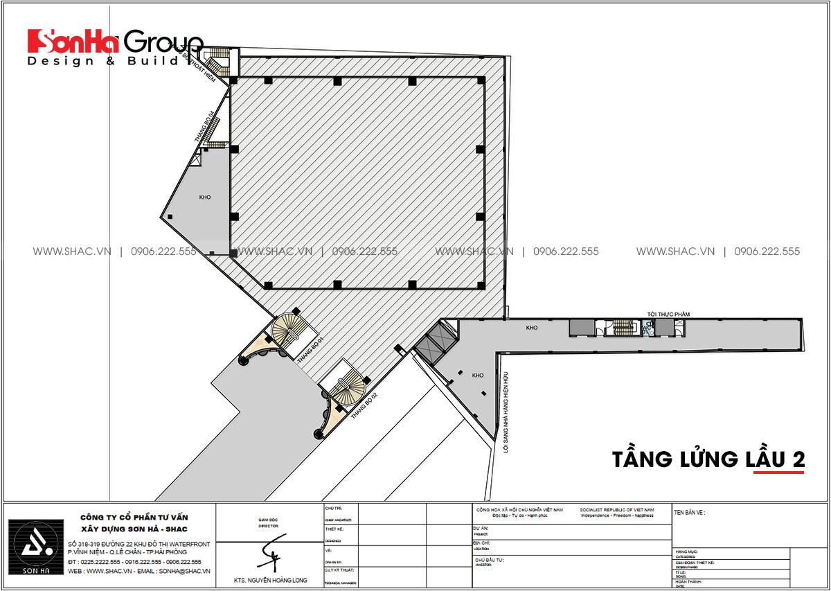 Bản vẽ công năng sử dụng của tầng lửng lầu 2 thiết kế trung tâm tiệc cưới sang trọng và đẳng cấp tại Đồng Nai