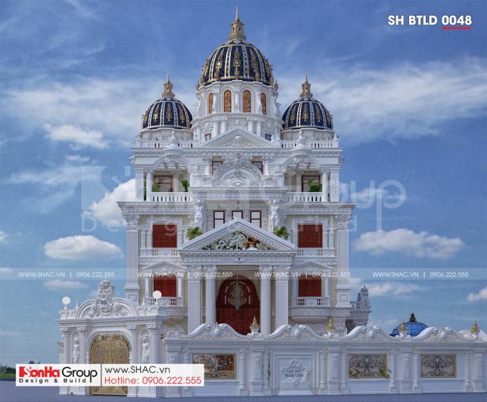 Mặt tiền biệt thự lâu đài sang trọng 3 tầng 1 tum mặt tiền 16m2